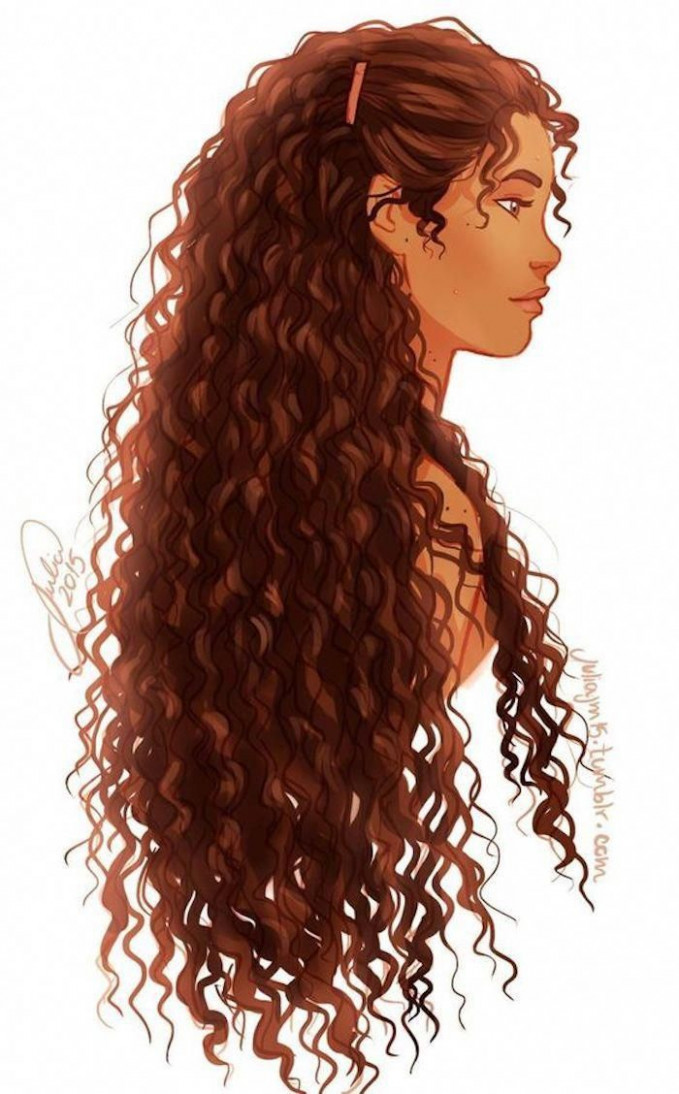 Girl with long, brown curly hair, image trace, white background