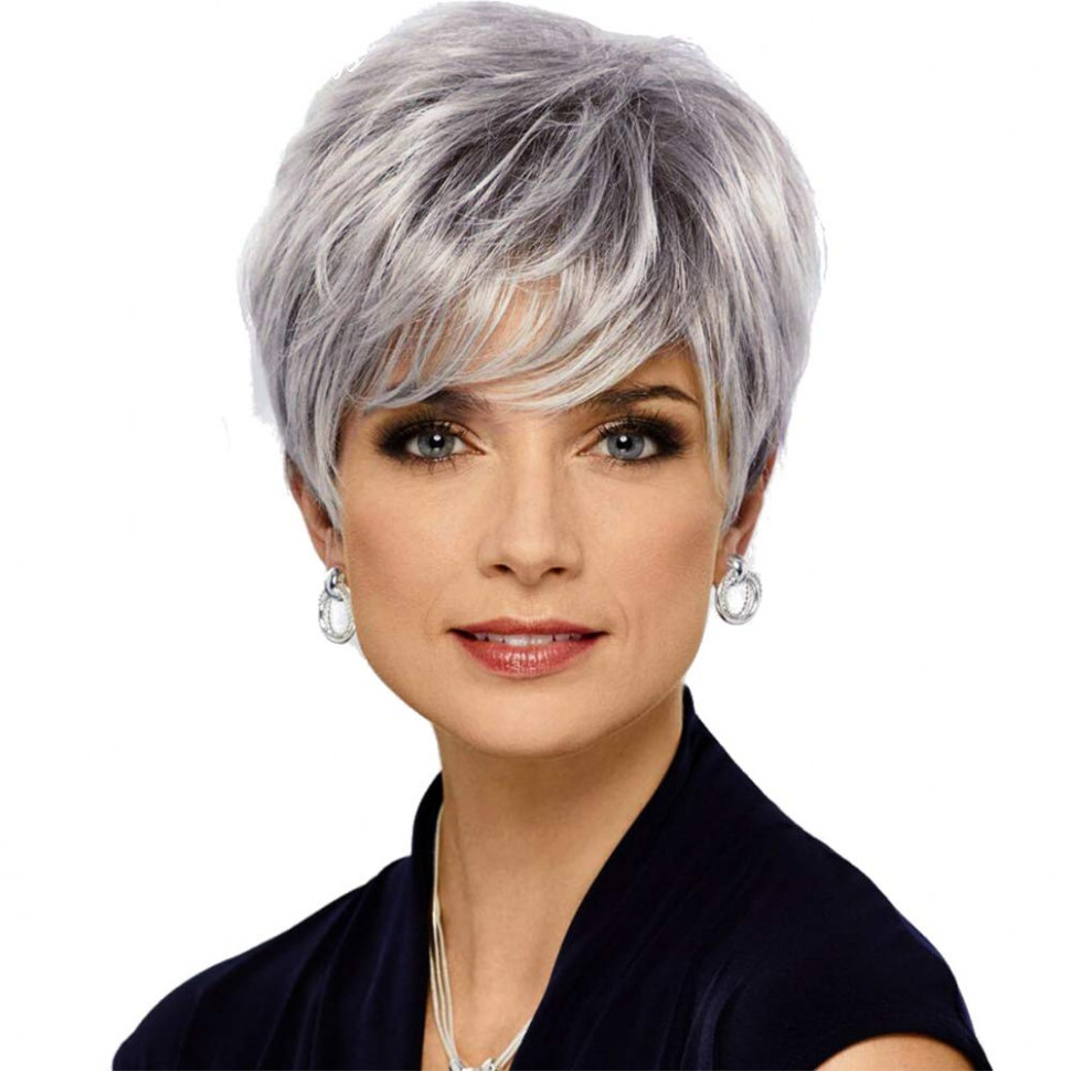 Haircube pixie cut human hair wigs for women pretty short gray wigs for white women(wm8) short hairstyle wigs