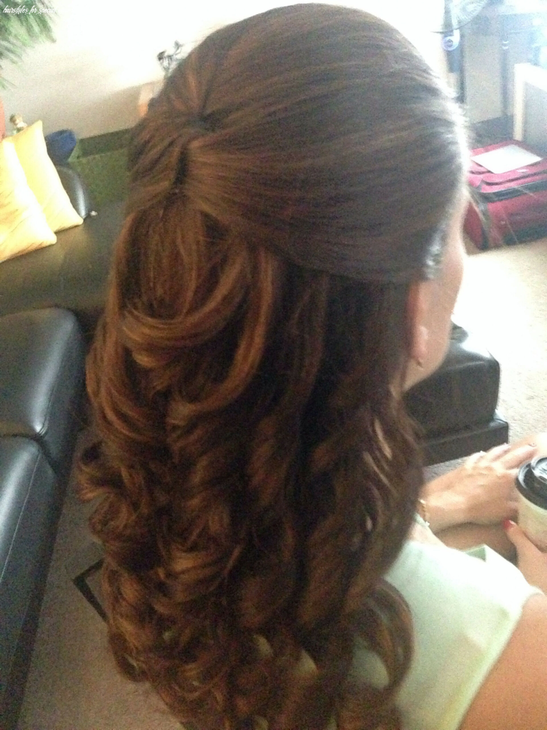 Half up do with curls for a casual or wedding event hairstyle