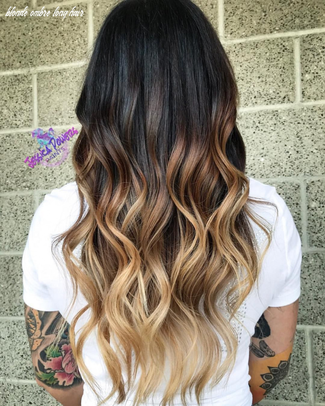 High contrast balayage ombre blonde ombré on naturally dark long
