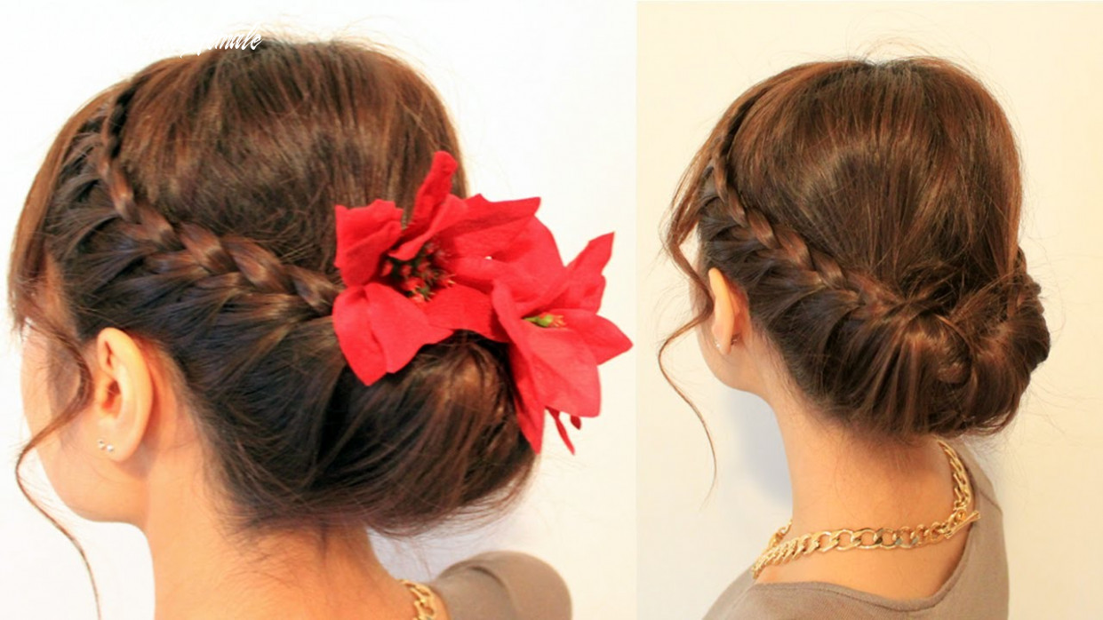 Holiday braided updo hairstyle for medium long hair tutorial mexican hairstyles female