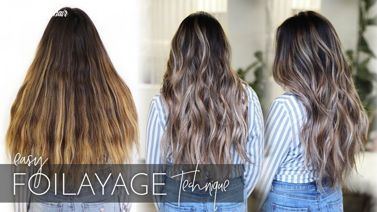 How to balayage dark, long, and thick hair foilayage hair technique (new method!) balayage long hair