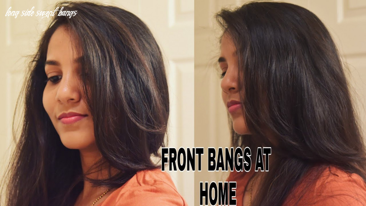 How to cut your own perfect side swept bangs @home   diy long hair bangs long side swept bangs