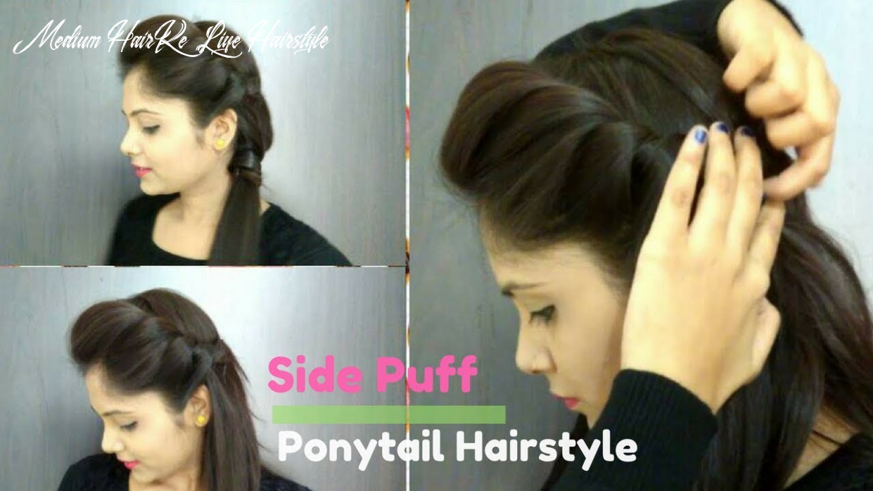 How to side puff with trick and ponytail hairstyle   easy side puff for medium/long hair medium hair ke liye hairstyle