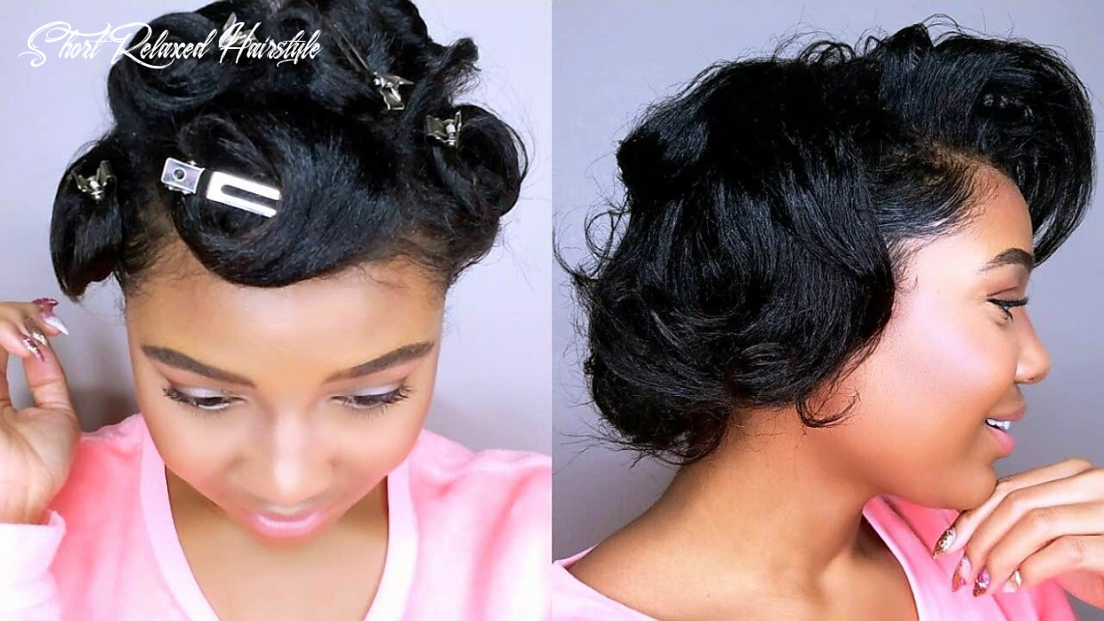 How To Style SHORT Relaxed Hair | PIN CURLS TUTORIAL | Heatless ...