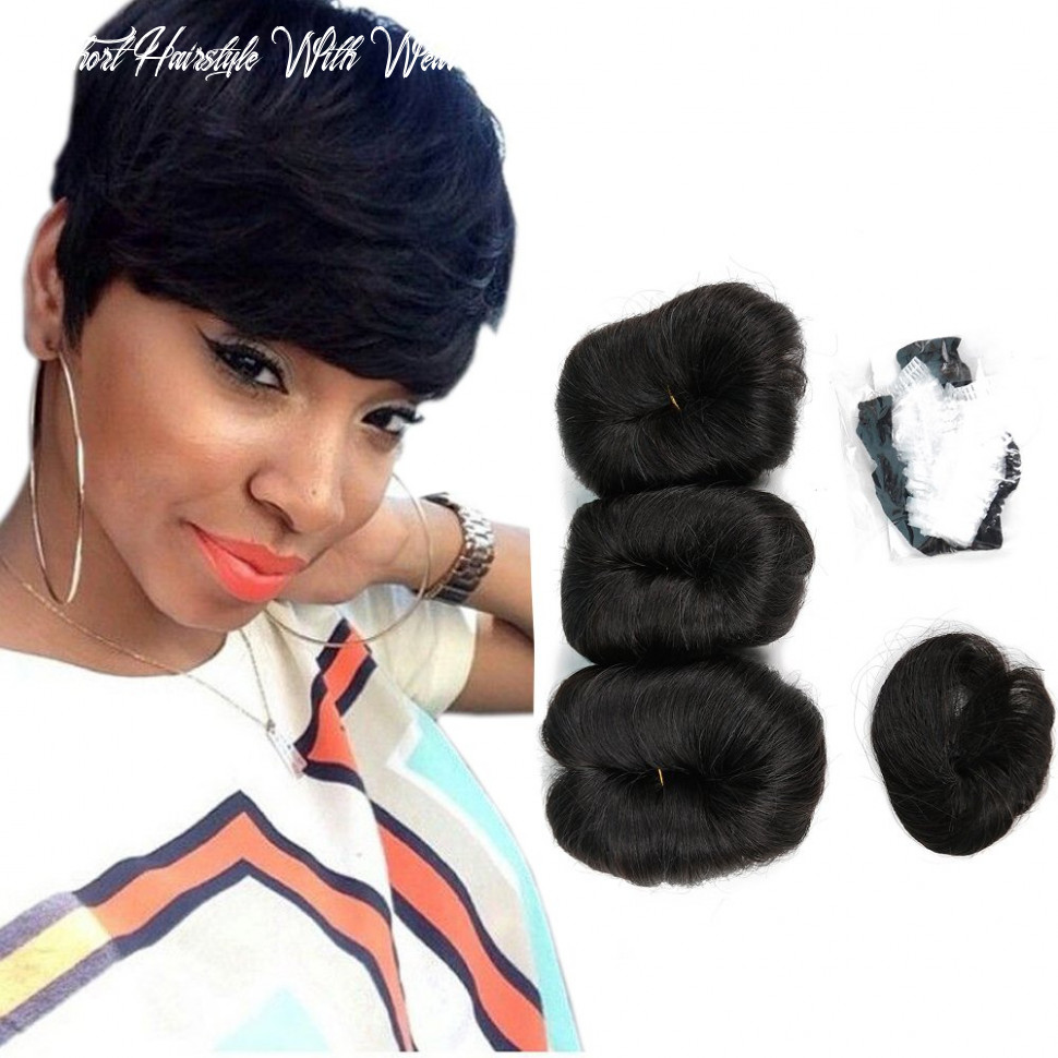 Human hair short weave brazilian virgin hair extensions pixie cut wig 9 pieces short hair weave with free part closure (#9b) short hairstyle with weave