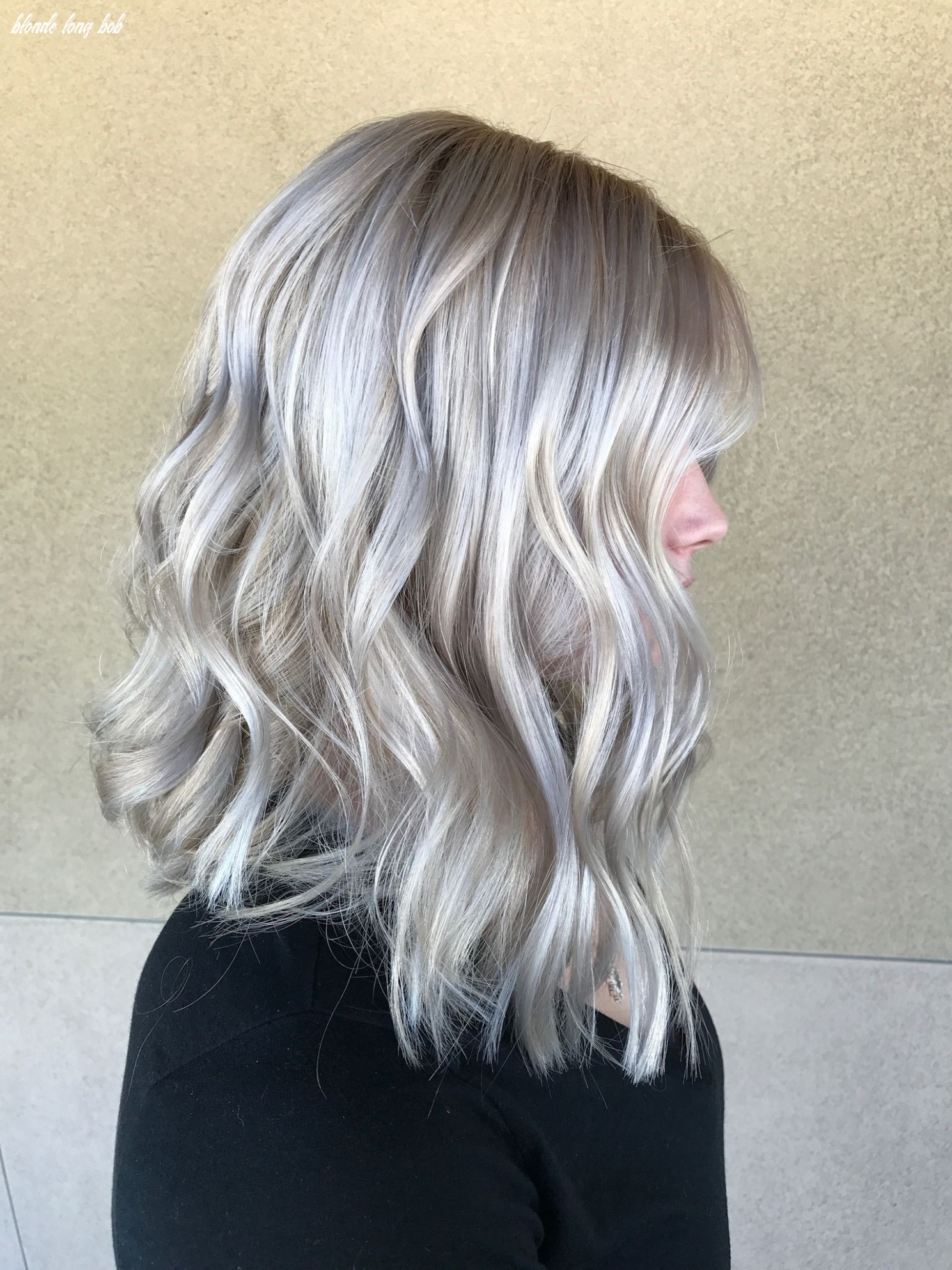 Icy platinum blonde long bob baliage | platinblond, blond, platin blonde long bob