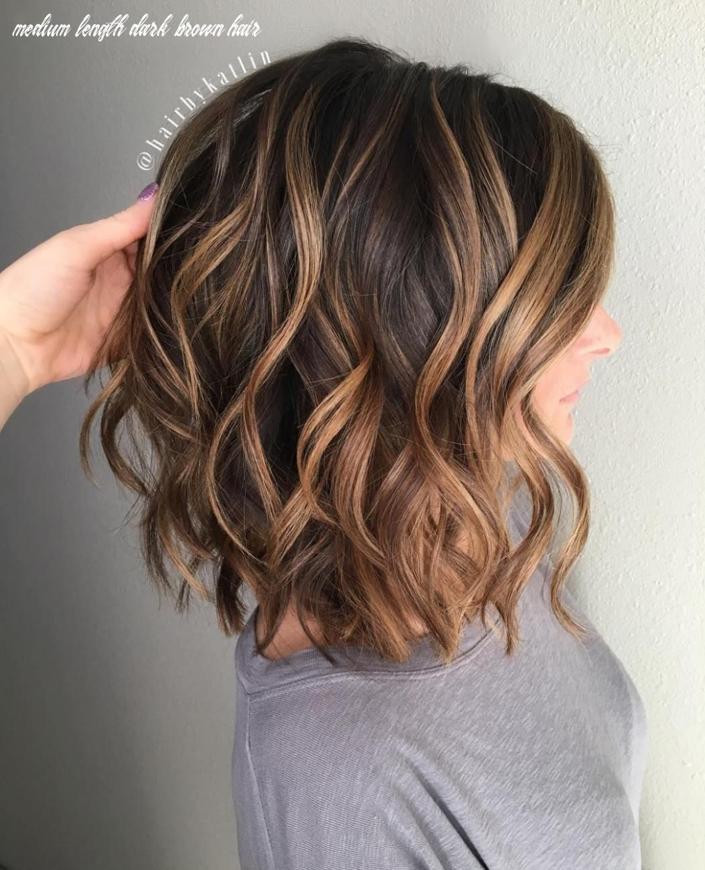 Image result for caramel highlights on dark brown curly hair