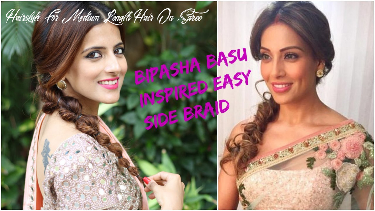 Indian hairstyles for saree for medium to long hair / prom/ party / wedding hairstyles bipasha basu hairstyle for medium length hair on saree
