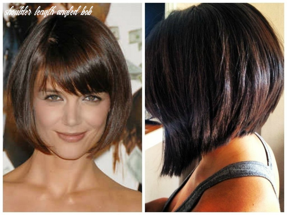 Inverted bob with bangs medium length angled bob haircut with
