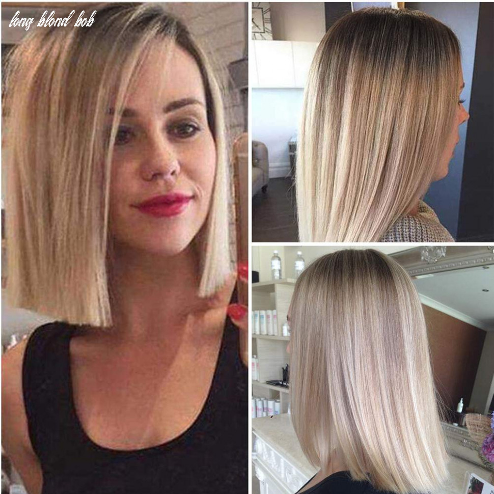Lady miranda 12 inches straight hair bob wig ombre brown to ash blonde color middle part synthetic full wigs for women (brown&ash blonde) long blond bob