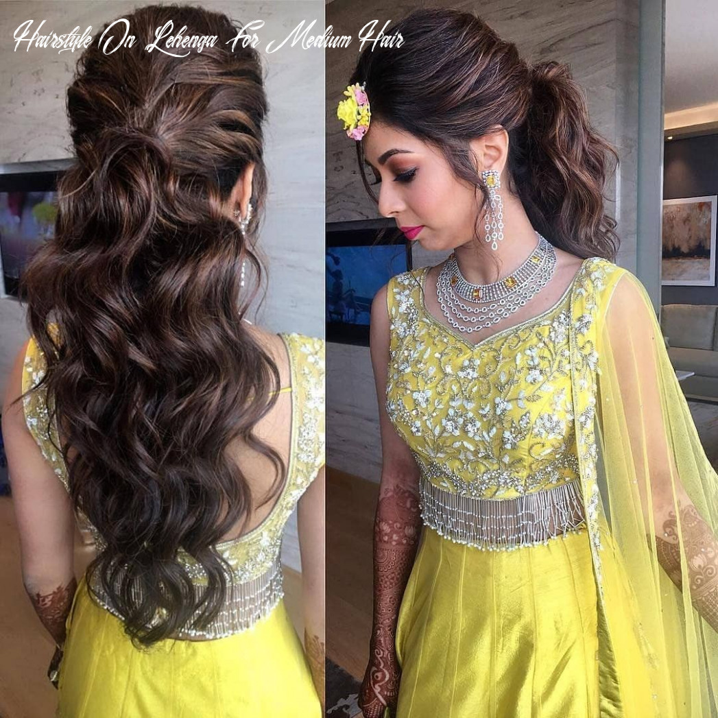 Lehenga in yellow 💛 | lehenga hairstyles, hair styles, mom hairstyles hairstyle on lehenga for medium hair