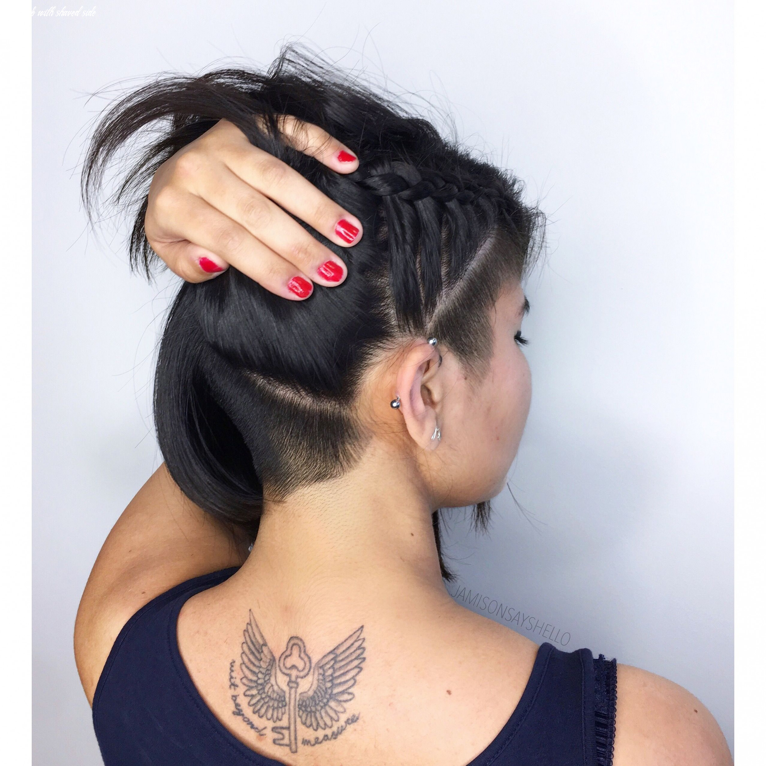 Long bob with hidden undercut and shaved side fade barbering ig