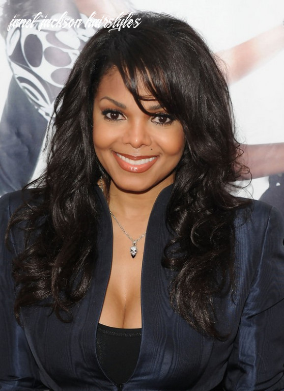 Long curly hairstyle with bangs for black women janet jackson