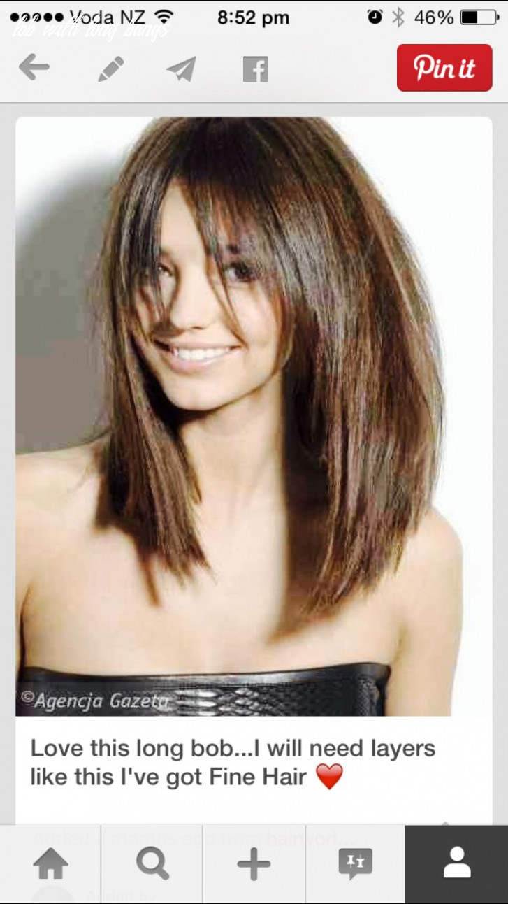 Long front, long lob with long bangs   thick hair styles, lob