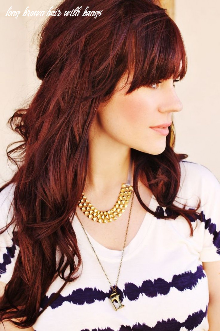 Long layered hairstyle with beautiful fringe red hair | mahogany