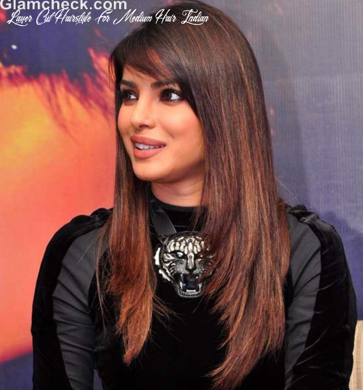 Long layers with side swept bangs!! ?   Indian hair highlights ...
