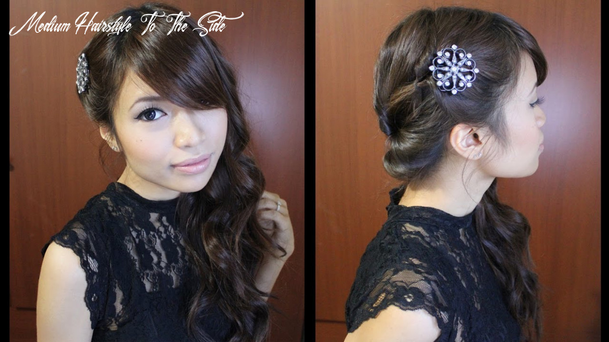 Looped side swept prom hairstyle for medium long hair tutorial medium hairstyle to the side
