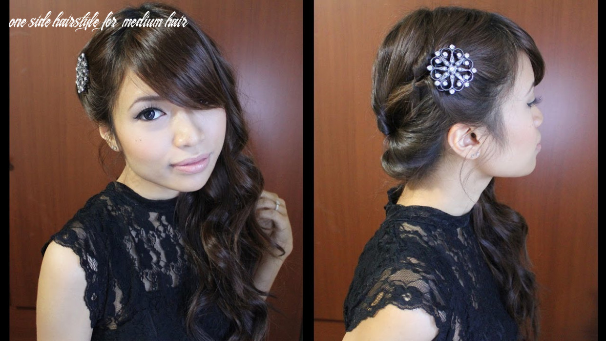 Looped side swept prom hairstyle for medium long hair tutorial one side hairstyle for medium hair