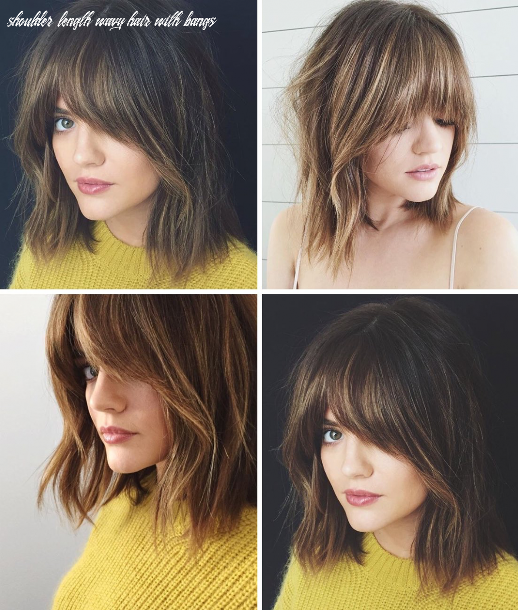 Lucy hale bangs … | coiffure, nouvelles coiffures, cheveux shoulder length wavy hair with bangs
