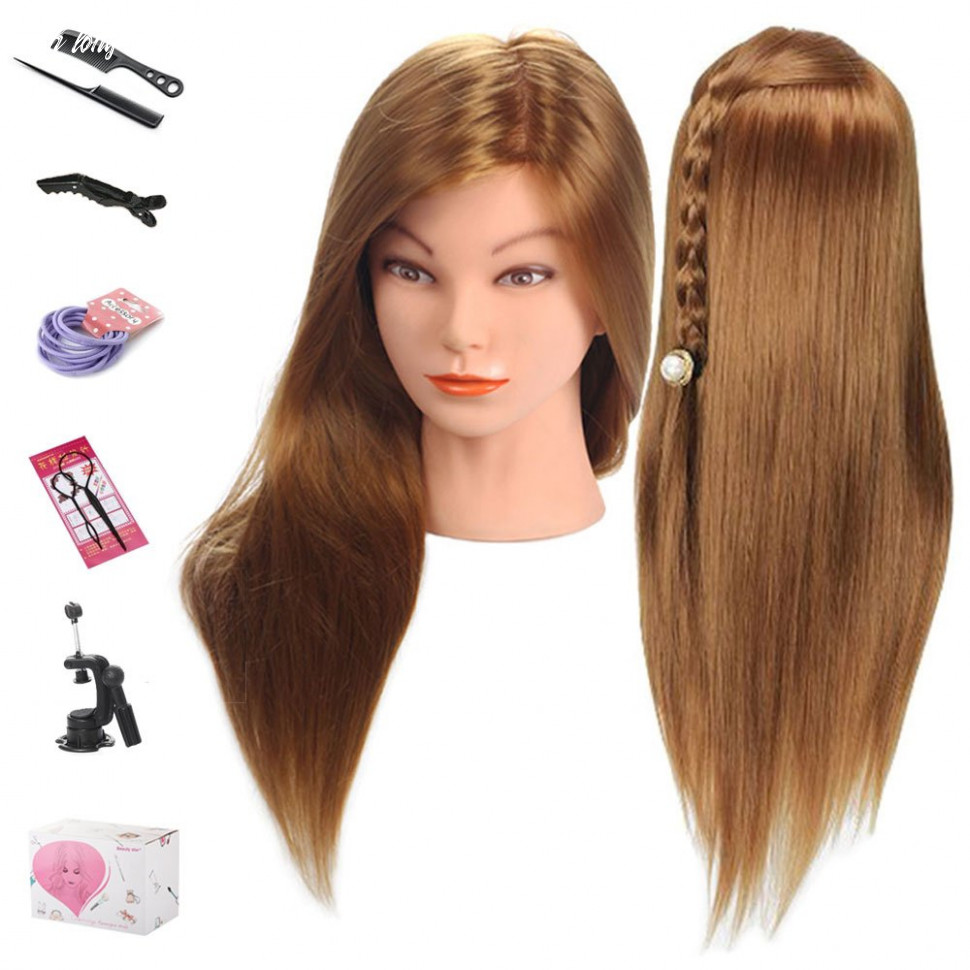 Mannequin head, beauty star 11 inch long gold hair cosmetology mannequin manikin training head model hairdressing styling practice training doll heads