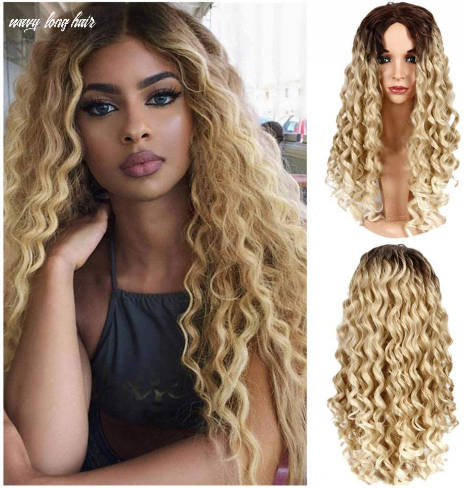 Maxpex black gold gradient long curly hair wig, synthetic water