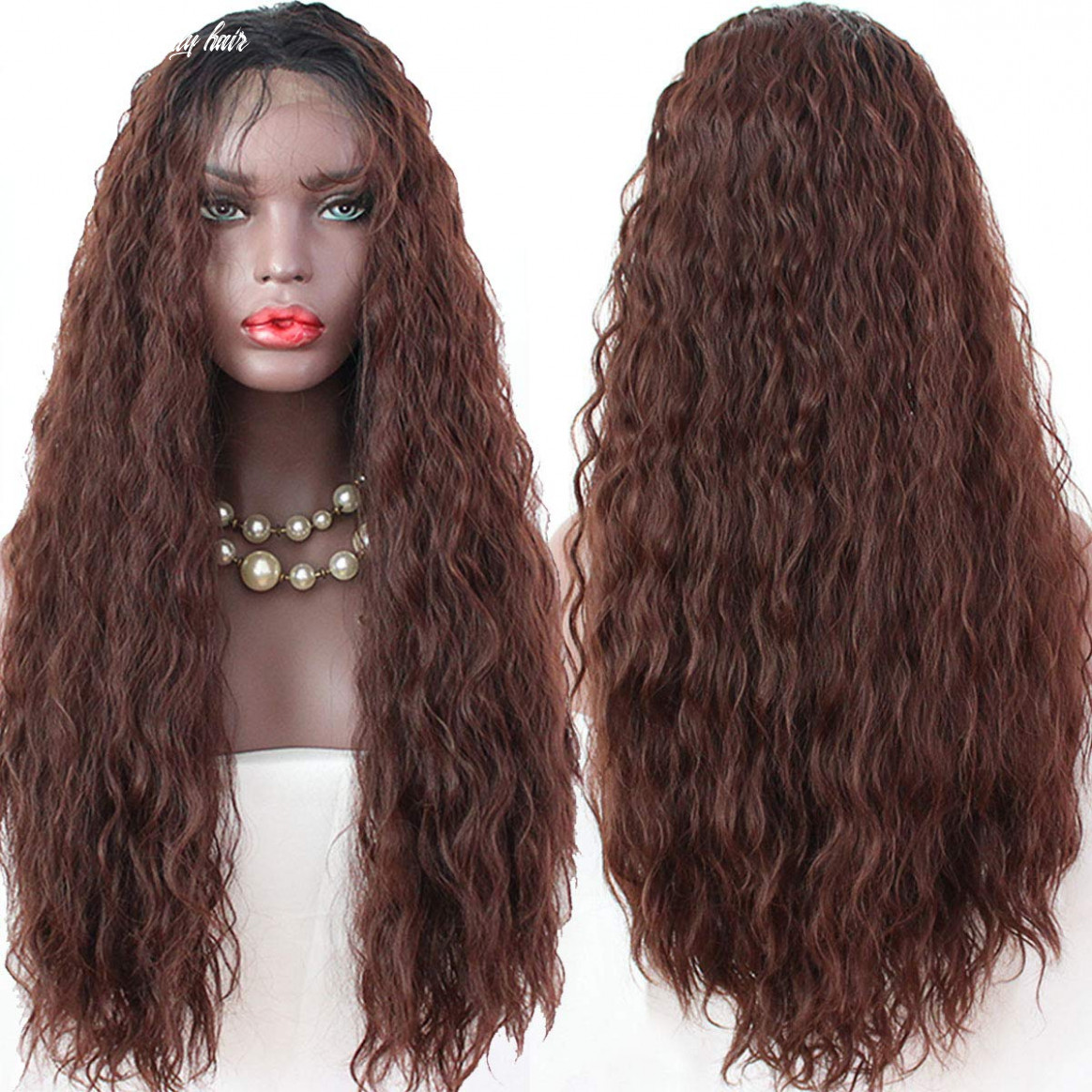 Maycaur black dark brown hair long curly synthetic lace front wigs for black women with natural baby hair curly ombre color wig(black #8 color) long brown curly hair