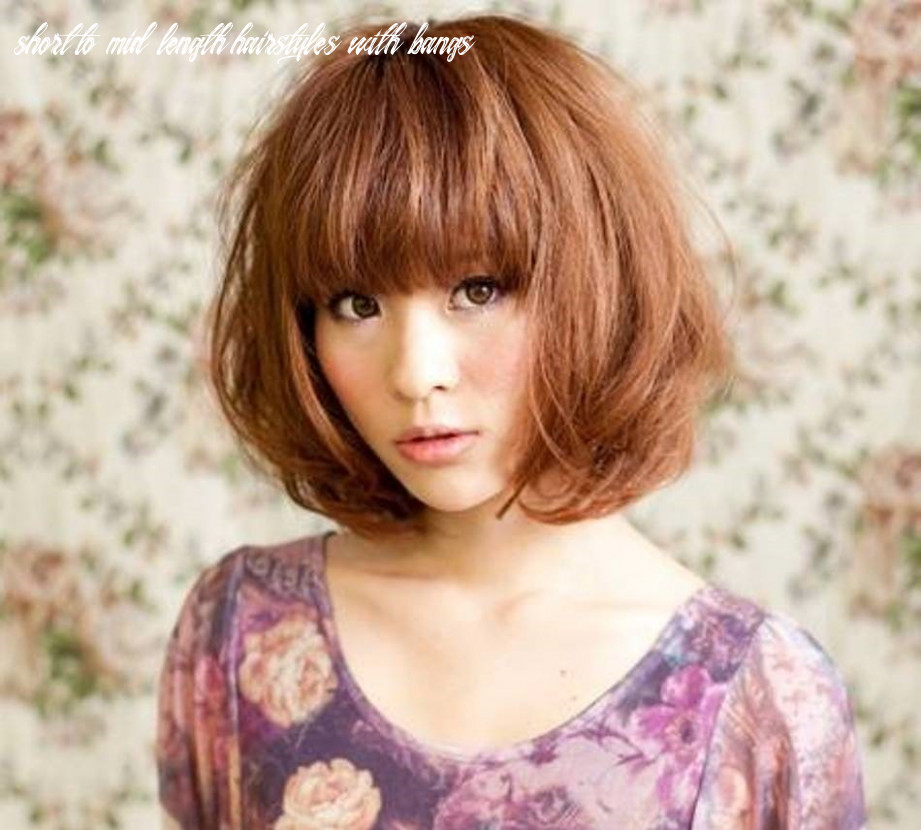 Medium length haircuts with bangs short to mid length hairstyles with bangs