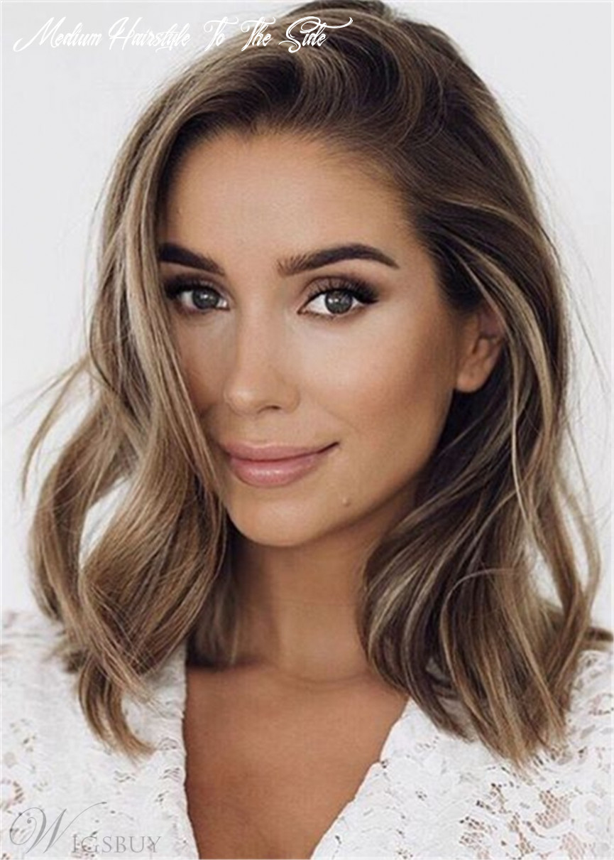 Medium length human hairstyle side part wavy wig 12 inches: m