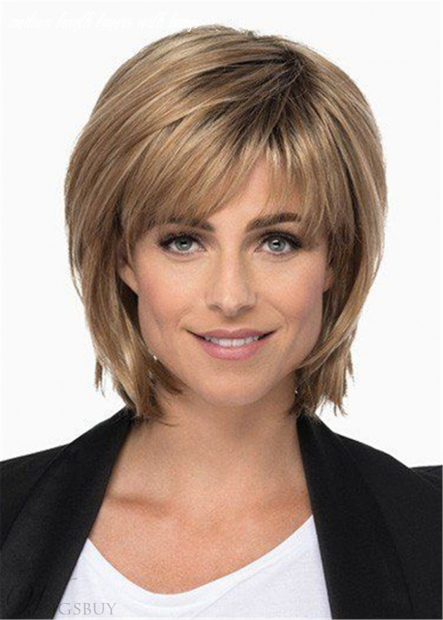 Medium Length Layered Bob With Bangs Synthetic Hair Lace Front Wig ...
