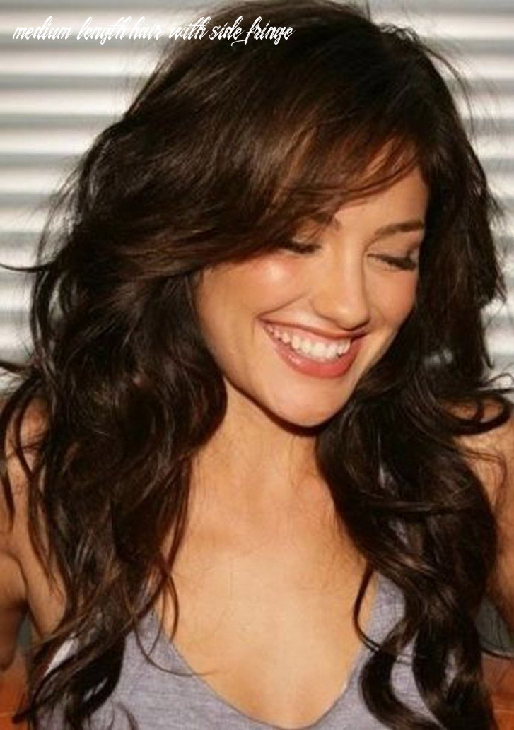 Medium length wavy hairstyles with side fringe (with images