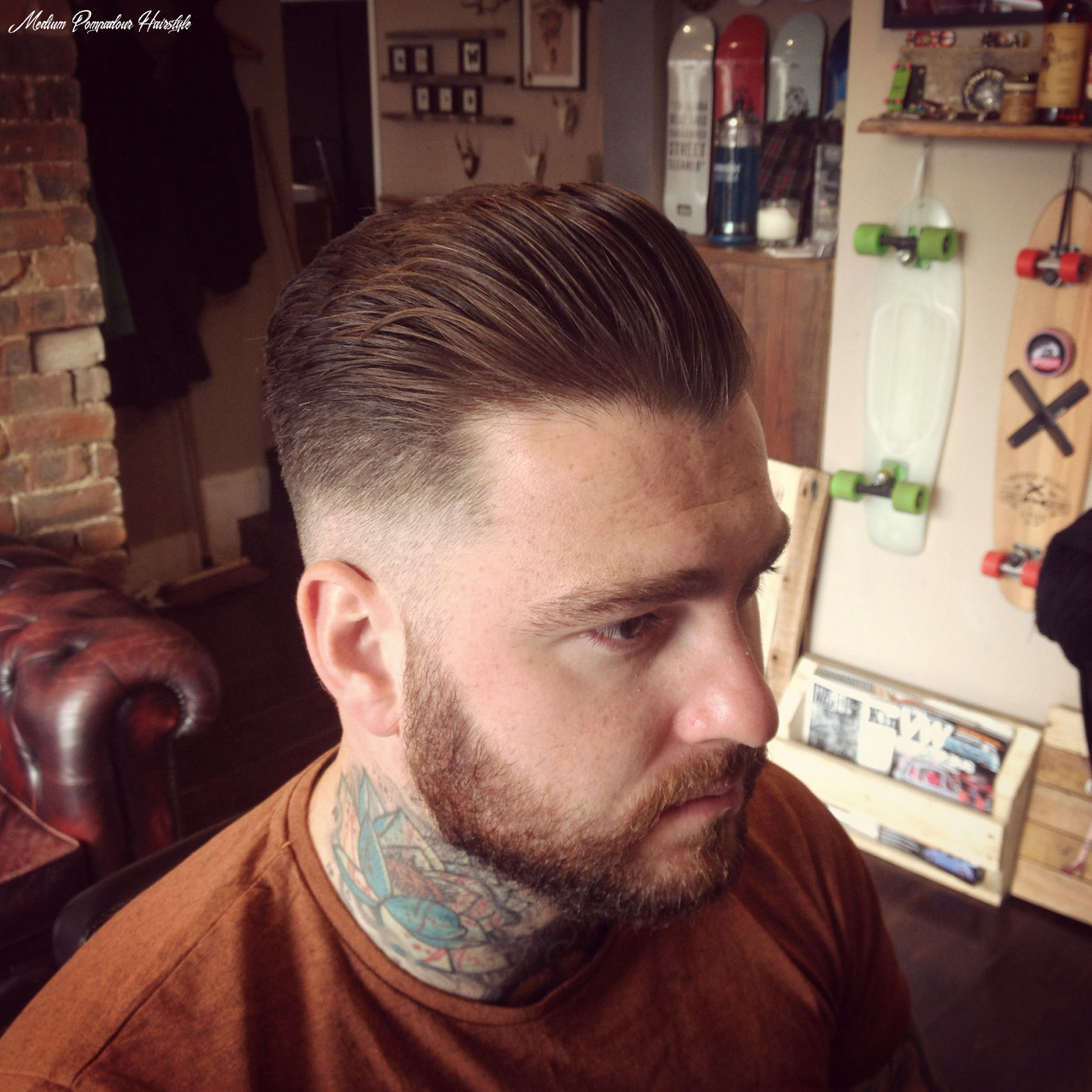 Medium pompadour finished with uppercut deluxe pomade