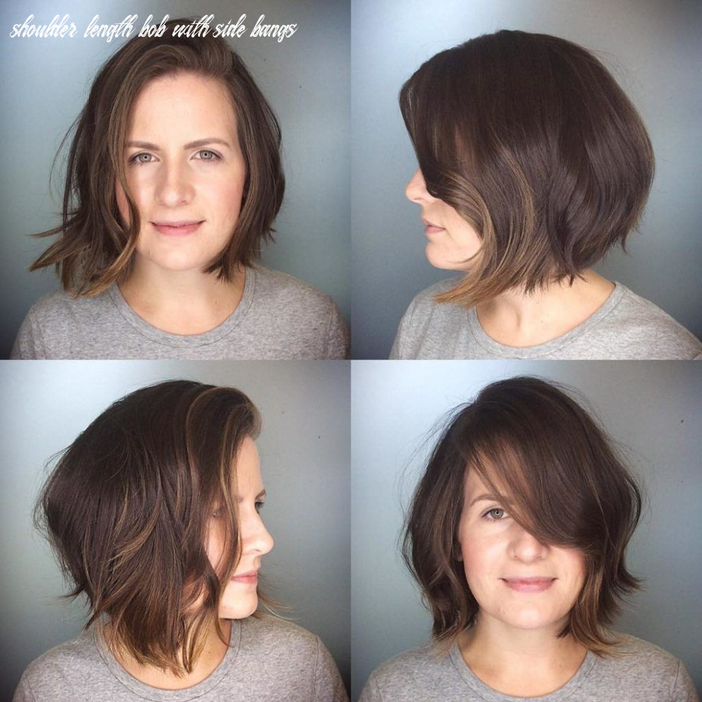 Messy brunette textured bob with side swept bangs and soft
