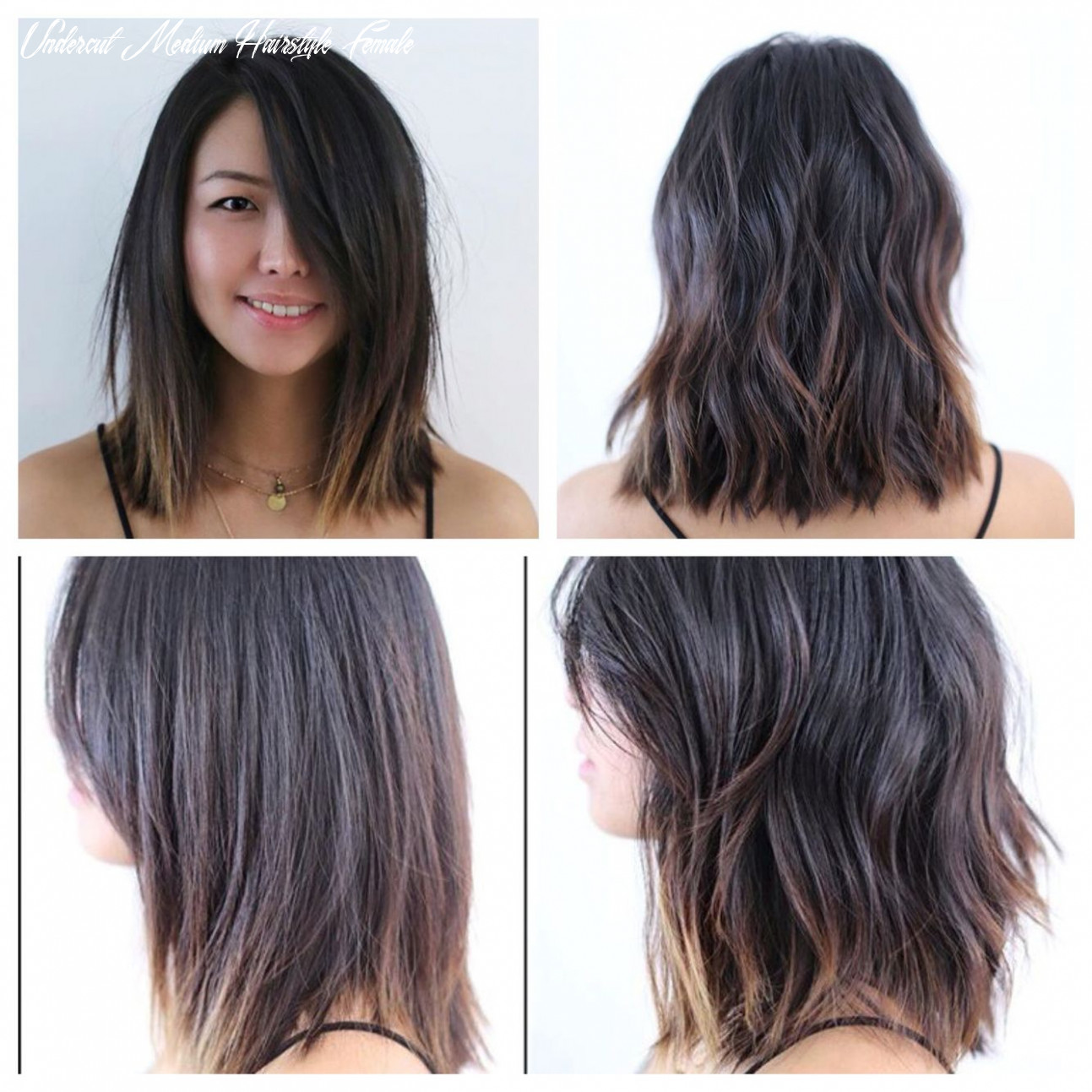 Mid length hair. Blunt. Soft undercut. Soft waves. Lived in hair ...