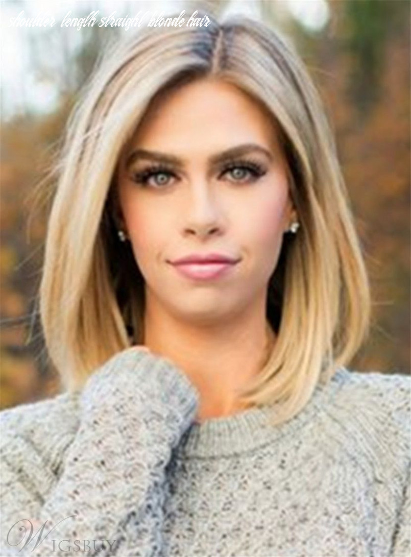 Mid length straight blonde full lace human hair wig 12 inches