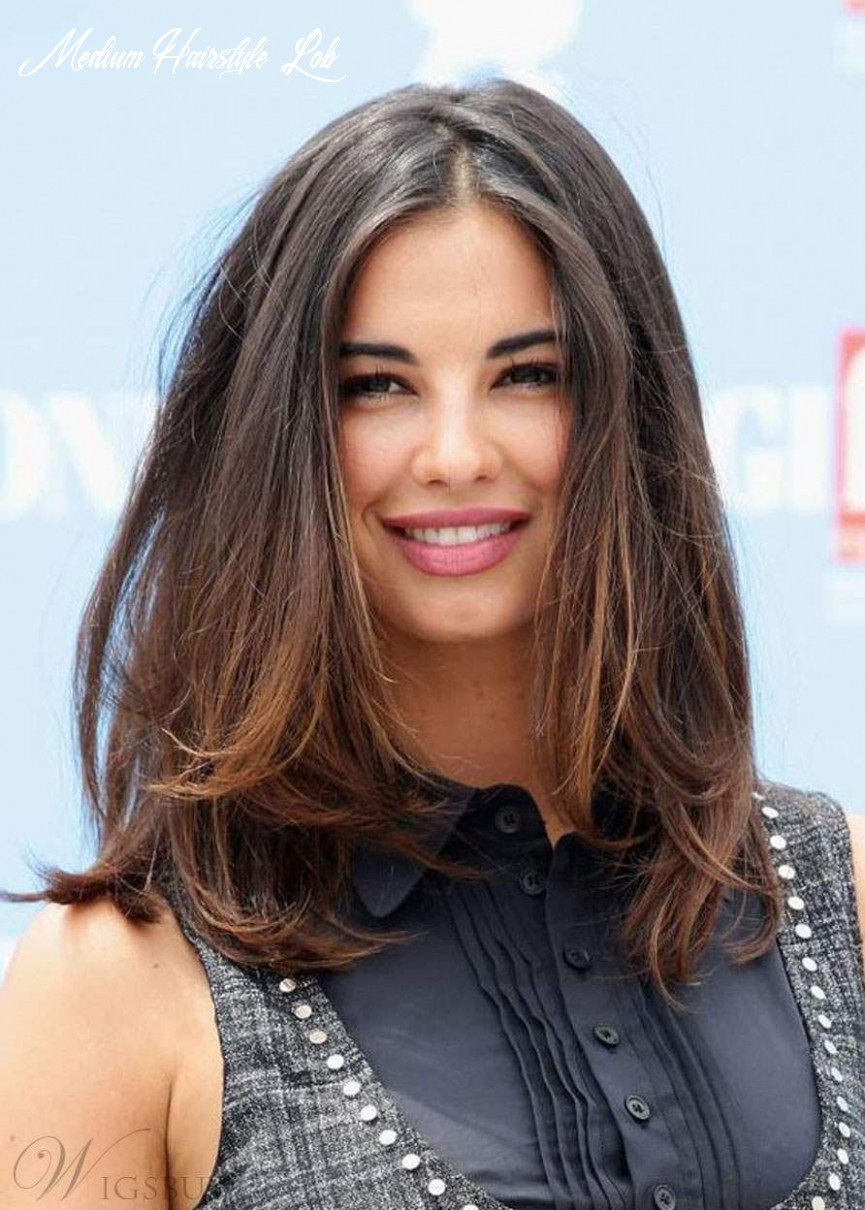 Middle length lob hairstyle silky straight natural color human
