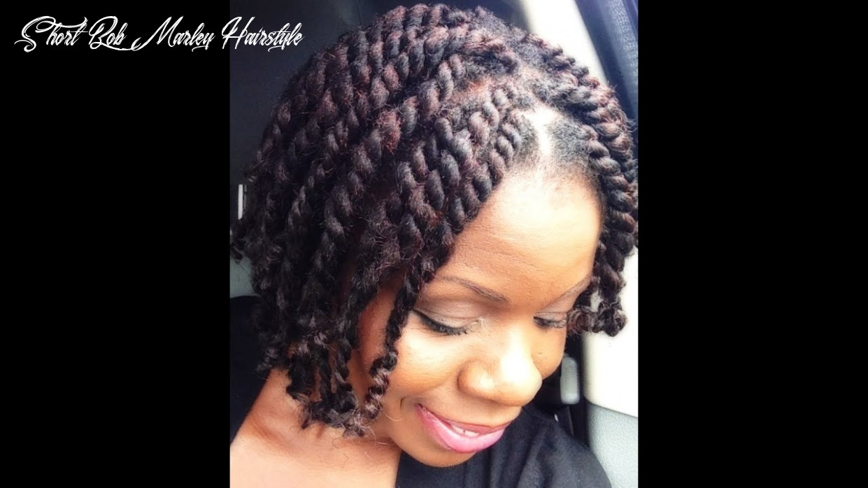 Natural hair|short chunky twists with marley hair|twisted from the roots short bob marley hairstyle