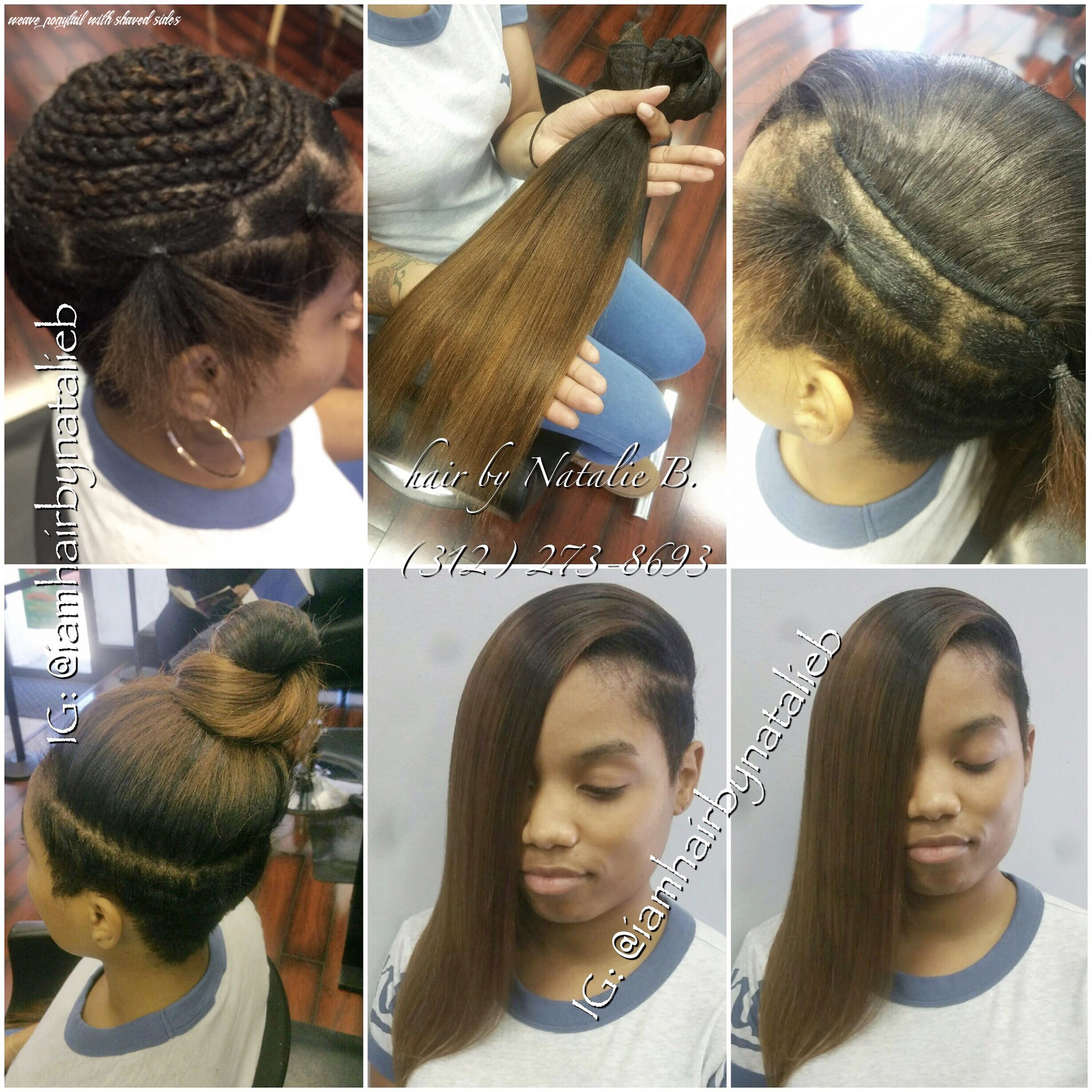 Natural looking, versatile sew in hair weave on client with shaved
