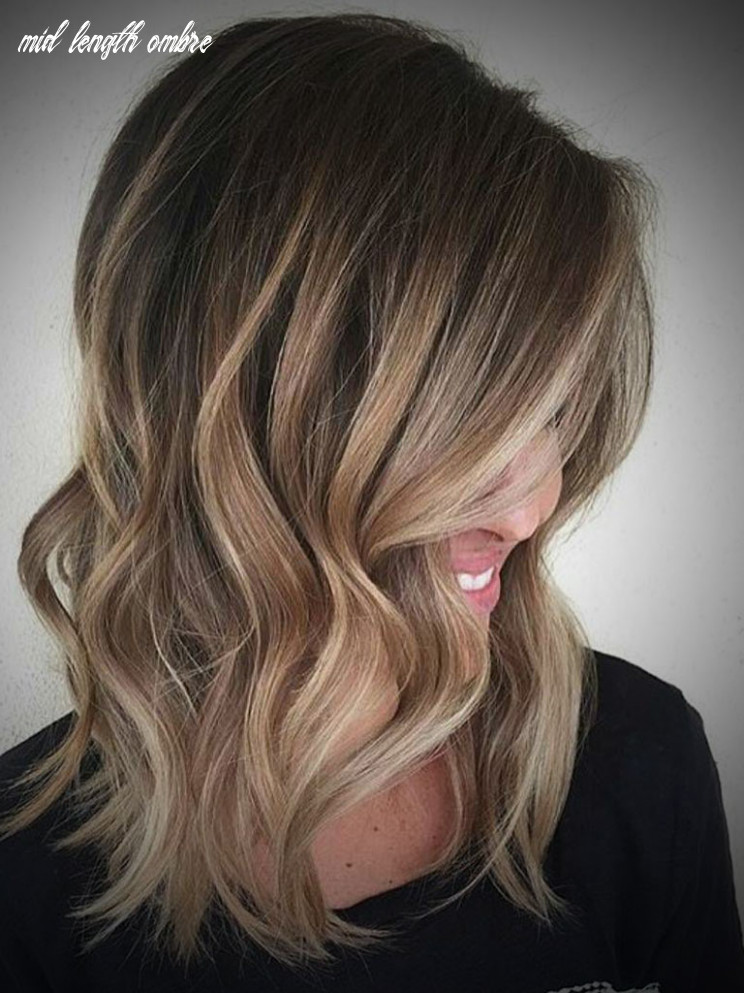 Ombre hair brown to blonde medium length mid length ombre
