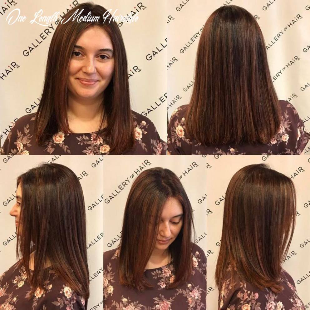 One length cut with textured ends and warm brunette color with