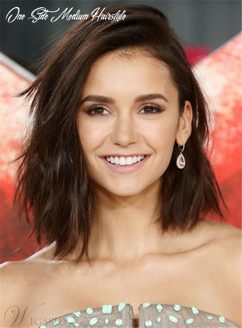 One side part mid length lob brown layered synthetic hair straight