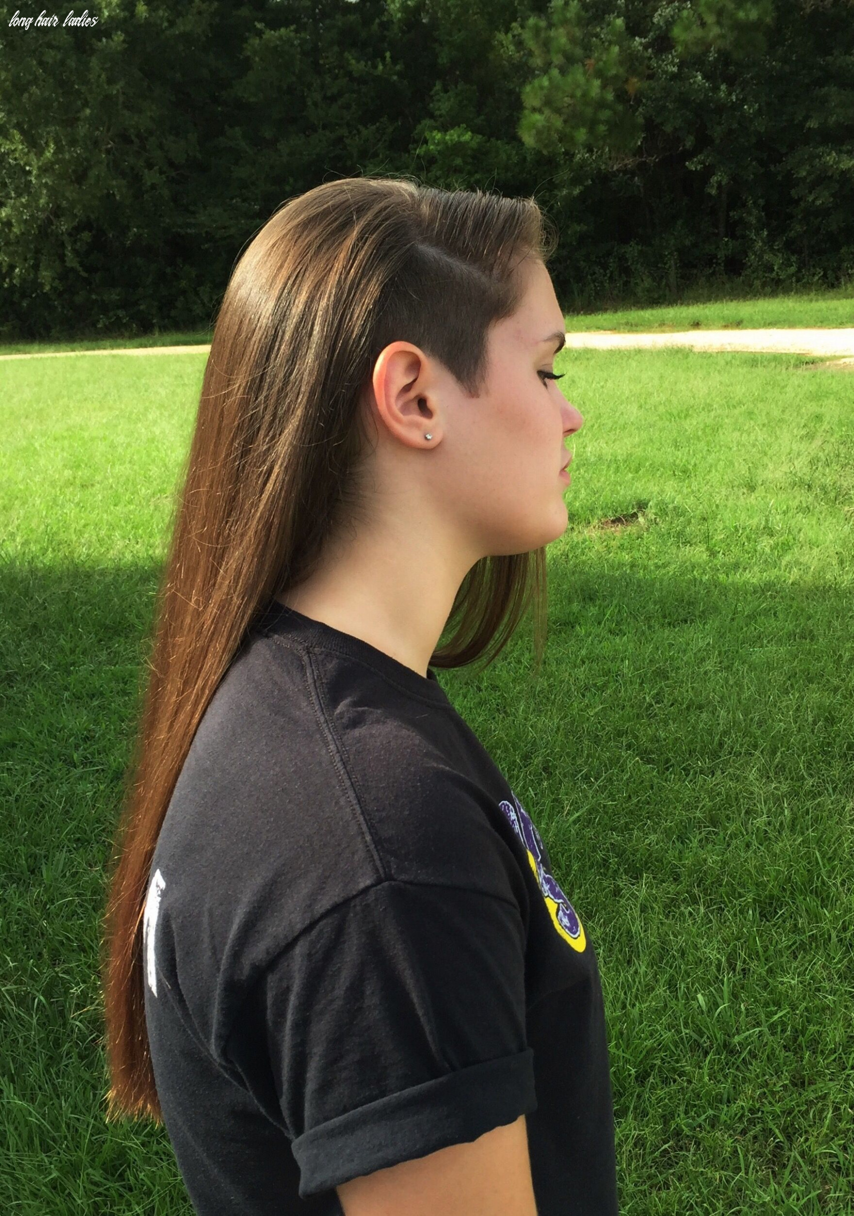 Partial side shave for long hair! | shaved long hair, shaved side