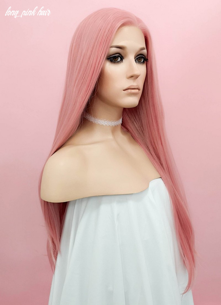 Pastel Pink Straight Lace Front Synthetic Wig LW8B