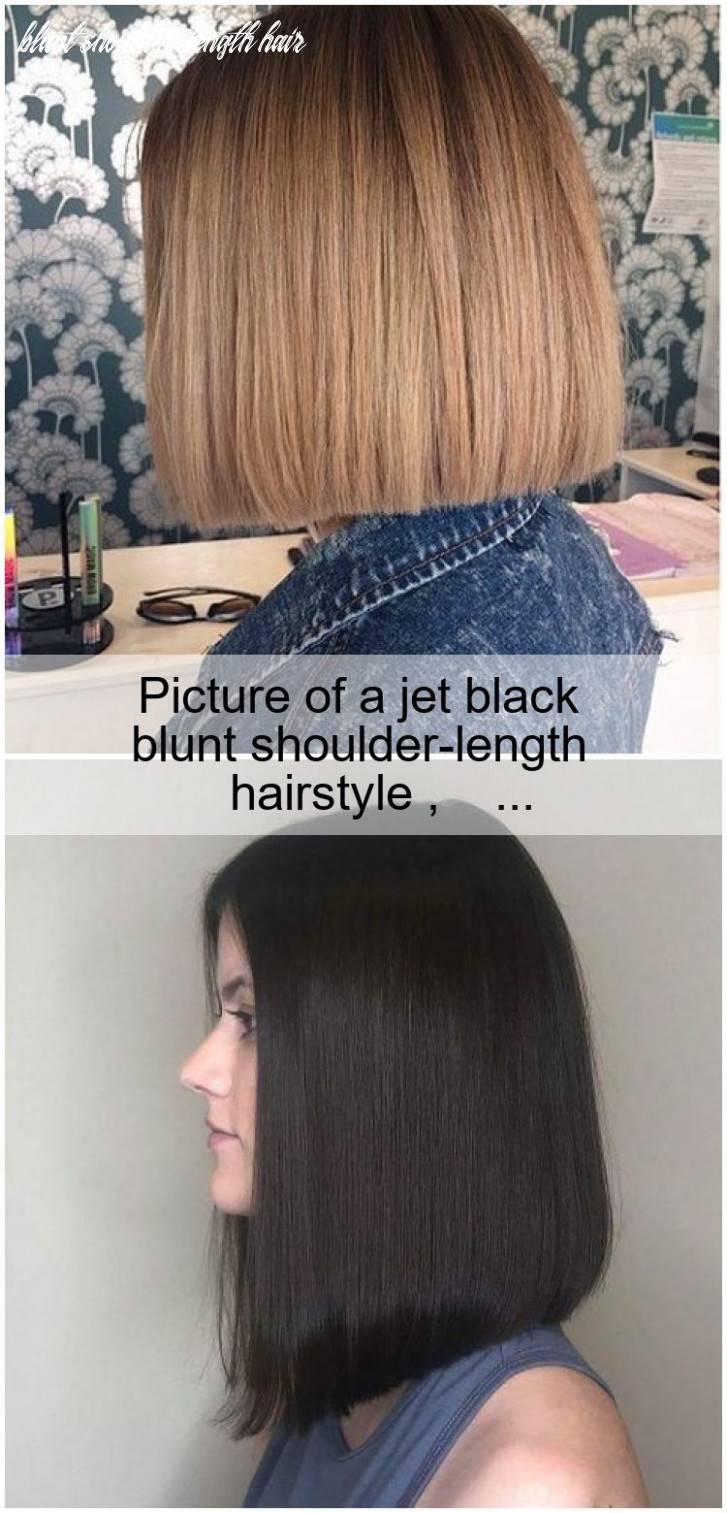 Picture of a jet black blunt shoulder length hairstyle