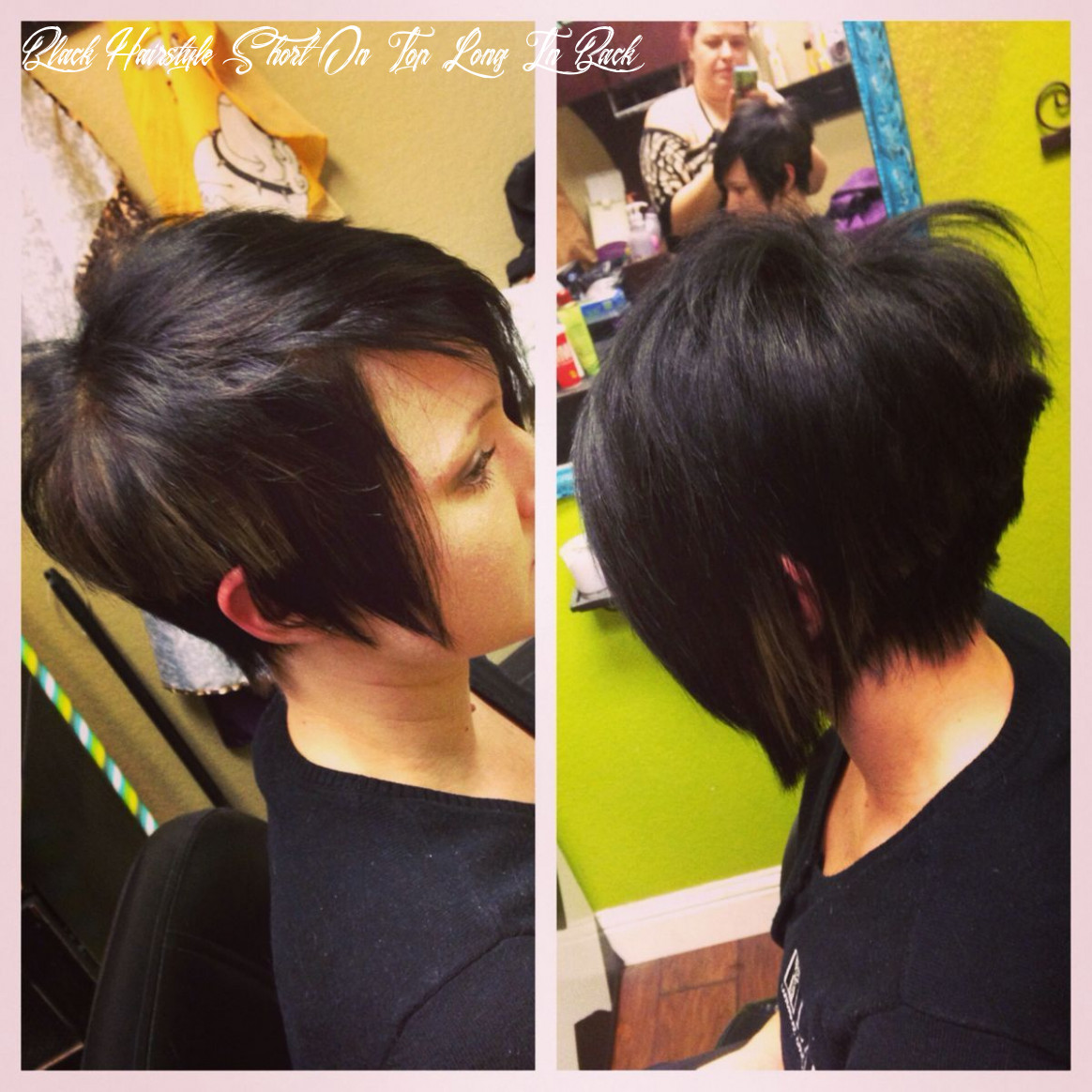 Pin on black hairstyles black hairstyle short on top long in back
