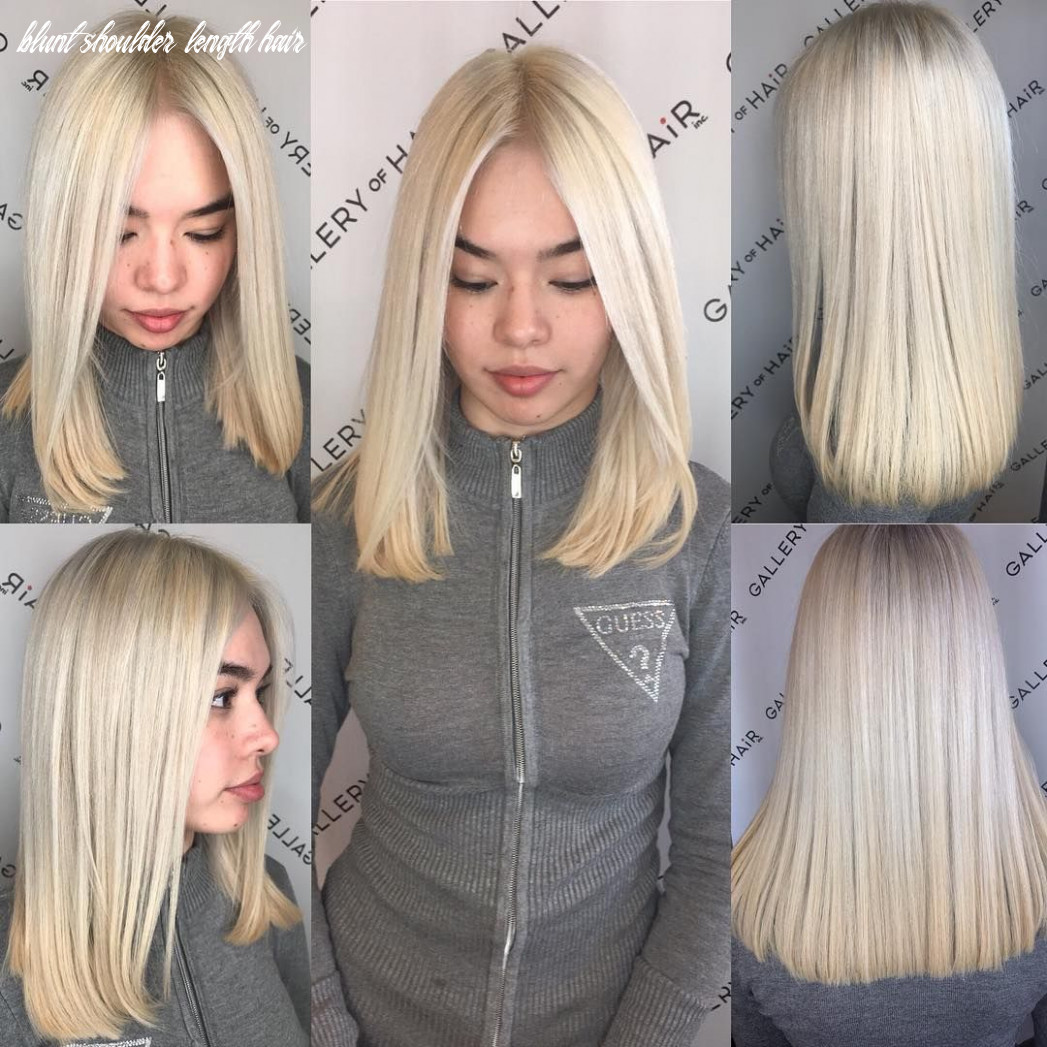 Pin on bobs & mid length cuts blunt shoulder length hair