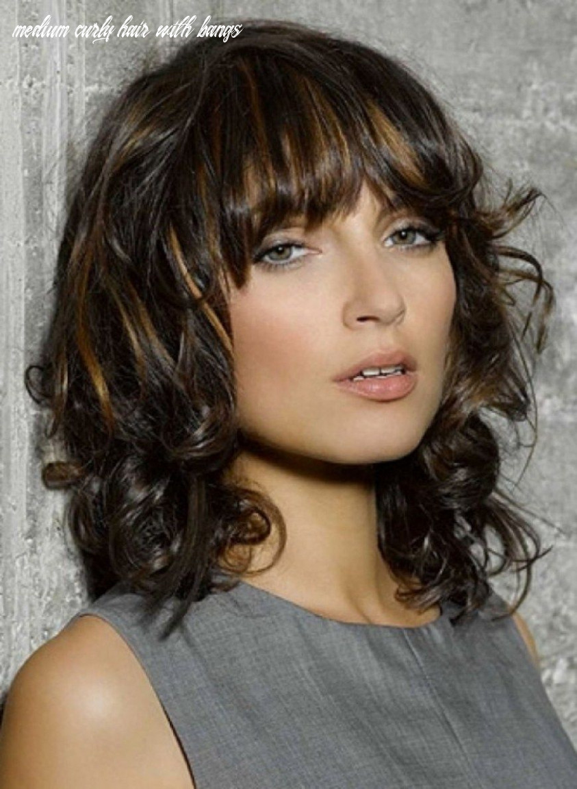 Pin on brunette hair colors medium curly hair with bangs