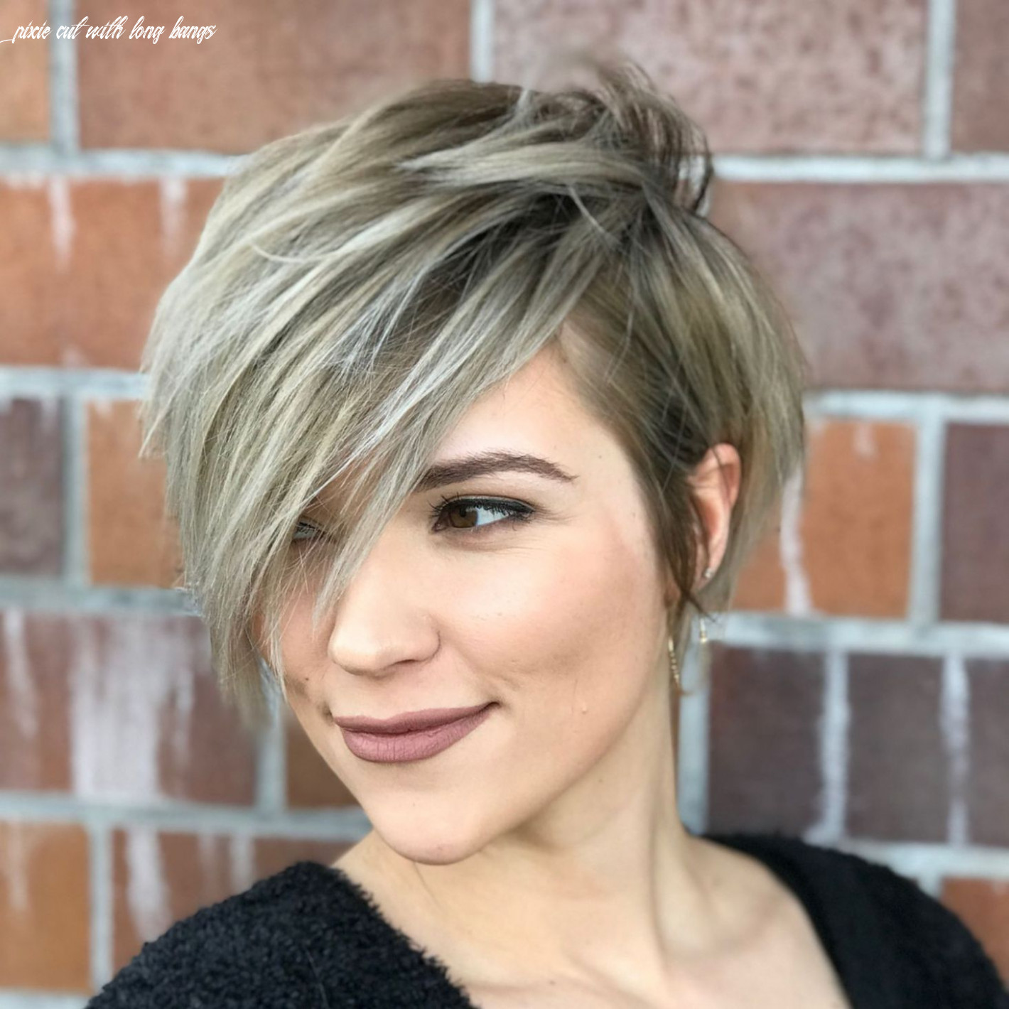 Pin on hair and nails pixie cut with long bangs