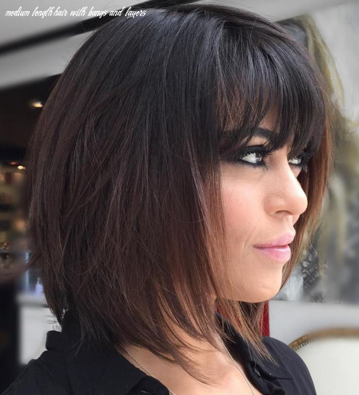 Pin on hair cut style medium length hair with bangs and layers