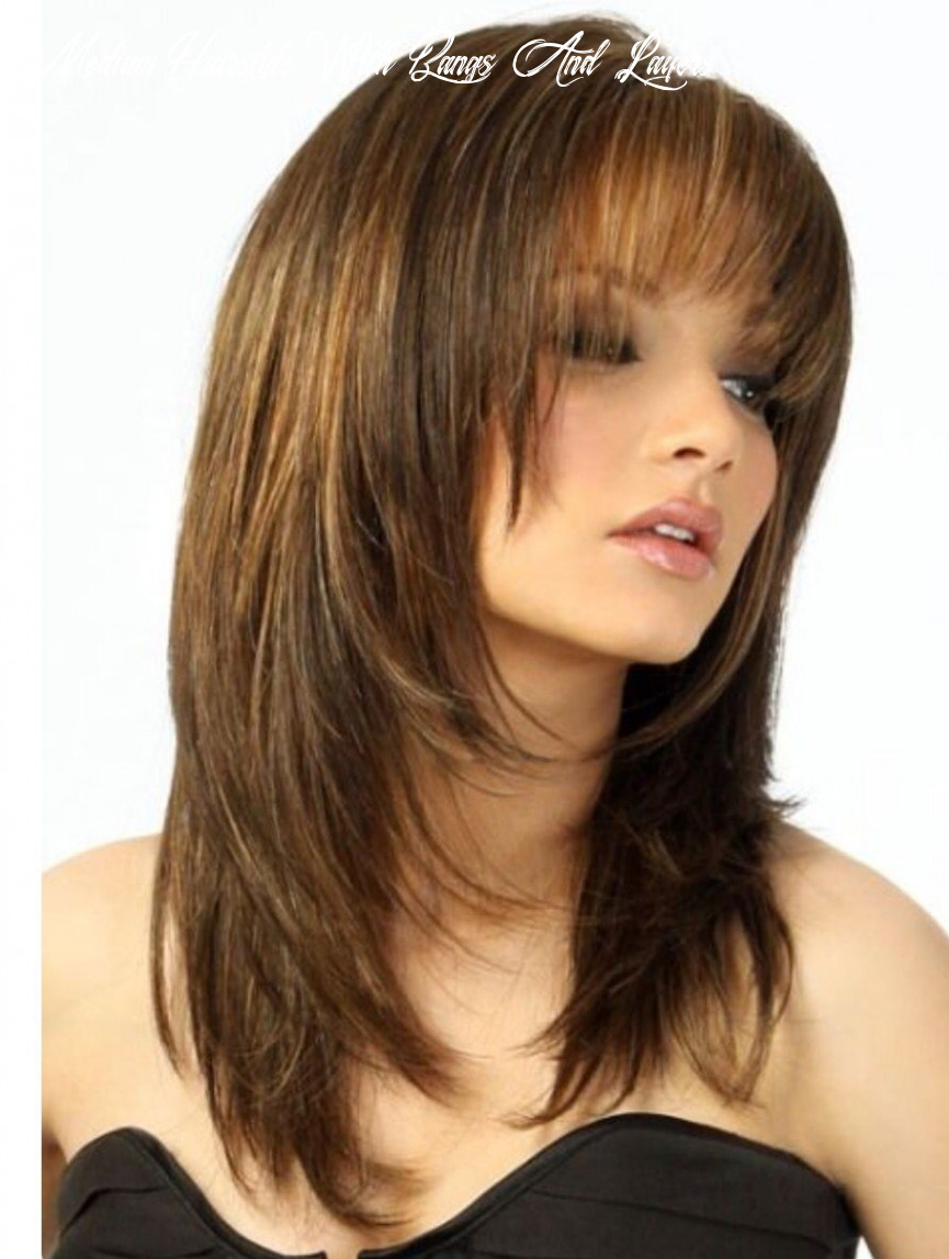 Pin on long round layers medium hairstyle with bangs and layers